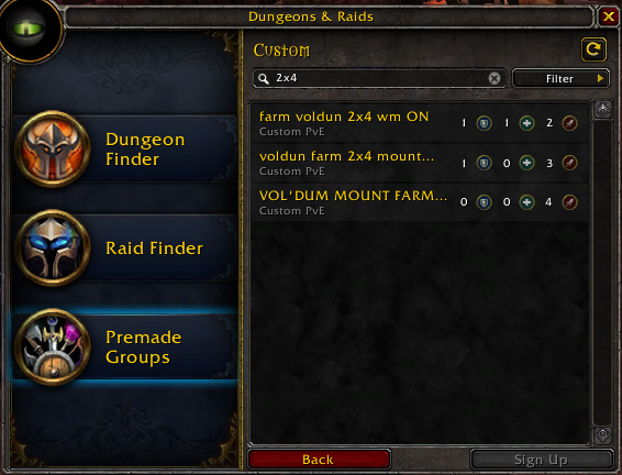 2x4 groups in group finder