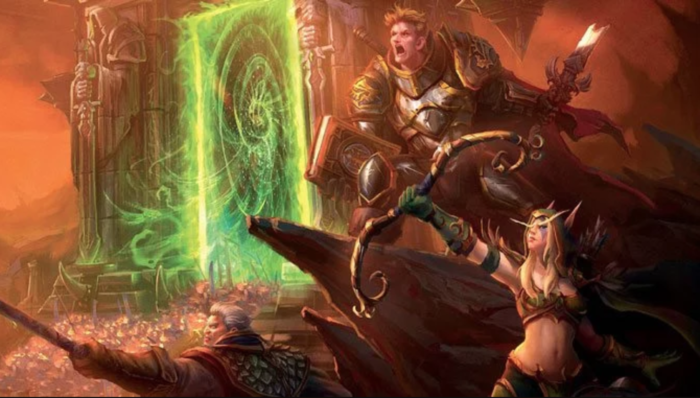 Turalyon, Alleria and Khadgar in front of the Dark Portal