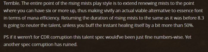 A player review over Rising mist hotfix